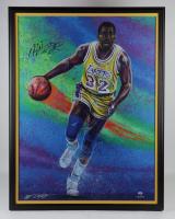 Magic Johnson Signed Lakers 35.5x44 Custom Framed Painting Display (PSA COA & PA LOA) at PristineAuction.com