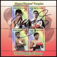 Manny Pacquiao Signed Original Uncut LE Collectible Postage Stamp Set from The Phillipines (Pacquiao COA) at PristineAuction.com