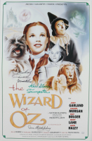 """Karl Slover, Mickey Carroll & Donna Stewart-Hardaway Signed """"The Wizard Of Oz"""" 16x24 Poster Inscribed """"Munchkin"""" & """"Trumpeter"""" (JSA COA) at PristineAuction.com"""