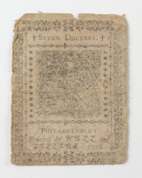 1776 $7 Seven Dollars - Continental - Colonial Currency Note at PristineAuction.com