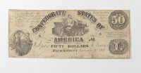 1861 $50 Fifty-Dollars Confederate States of America Richmond CSA Bank Note at PristineAuction.com