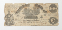 1861 $100 One-Hundred Dollars Confederate States of America Richmond CSA Bank Note at PristineAuction.com
