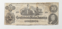 1862 $10 Ten-Dollars Confederate States of America Richmond CSA Bank Note at PristineAuction.com