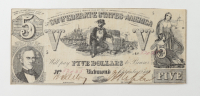 1861 $5 Five-Dollars Confederate States of America Richmond CSA Bank Note at PristineAuction.com