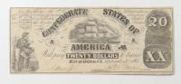 1861 $20 Twenty-Dollars Confederate States of America Richmond CSA Bank Note at PristineAuction.com