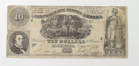 1861 $10 Ten-Dollars Confederate States of America Richmond CSA Bank Note at PristineAuction.com