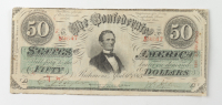 1863 $50 Fifty-Dollars Confederate States of America Richmond CSA Bank Note at PristineAuction.com