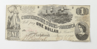 1862 $1 One-Dollar Confederate States of America Richmond CSA Bank Note at PristineAuction.com