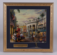 """Thomas Kinkade """"Minnie Mouse Shopping In Beverly HIlls"""" 16x16 Custom Framed Print Display with Retired Minnie Mouse Brass Pin at PristineAuction.com"""