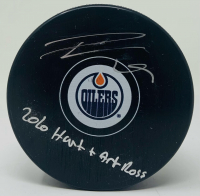 "Leon Draisaitl Signed Oilers Logo Hockey Puck Inscribed ""2020 Hart + Art Ross"" (Fanatics Hologram) at PristineAuction.com"