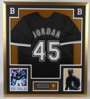 Michael Jordan 32x26 Custom Framed Jersey Display with #45 Jordan Lapel Pin at PristineAuction.com