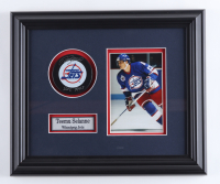 """Teemu Selanne Signed Jets 12.5x14.5 Custom Framed Puck Display Inscribed """"ROY 1993"""" (COJO COA) (See Description) at PristineAuction.com"""