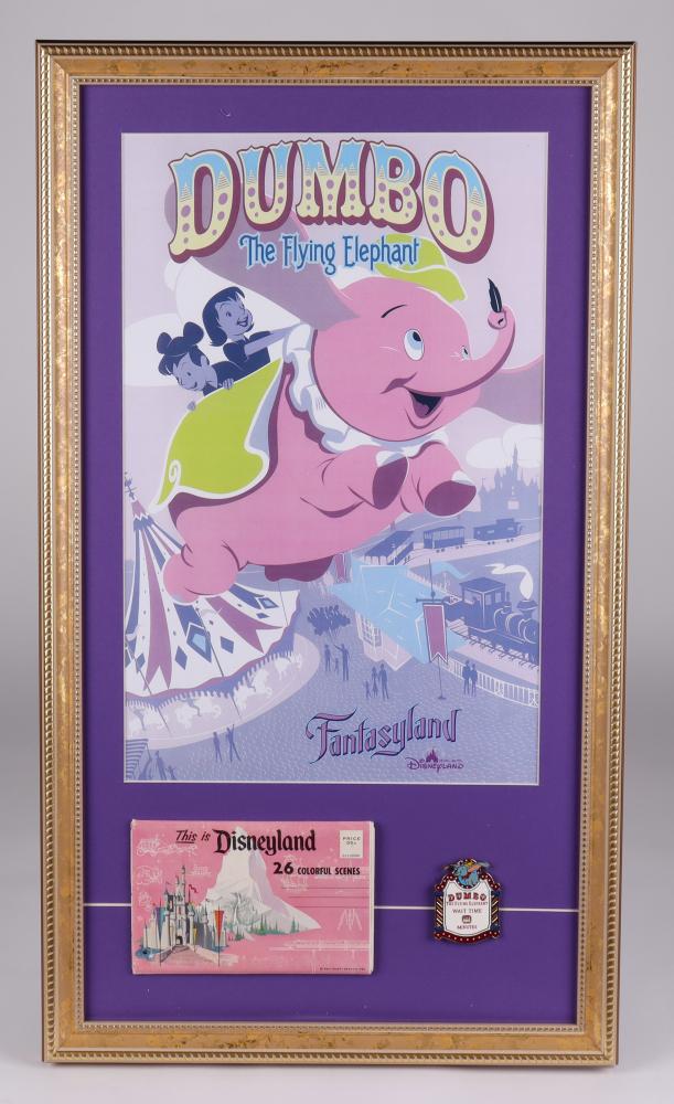 "Disneyland ""Dumbo The Flying Elephant"" 15x26 Custom Framed Print Display with Vintage Disneyland Photo Portfolio & Official Dumbo Ride Pin at PristineAuction.com"