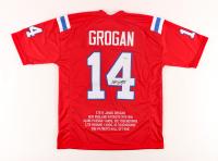 Steve Grogan Signed Career Highlight Stat Jersey (PSA COA) at PristineAuction.com