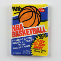 1988 Fleer Basketball Unopened Wax Pack with (12) Cards including Jordan Sticker on the Back at PristineAuction.com