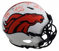 John Elway, Shannon Sharpe & Terrell Davis Signed Broncos Full-Size Authentic On-Field Lunar Eclipse Alternate Speed Helmet with HOF Inscriptions (Beckett Hologram) at PristineAuction.com