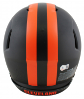 """Baker Mayfield Signed Browns Full-Size Authentic On-Field Eclipse Alternate Speed Helmet Inscribed """"Woke Up Feeling Dangerous"""" (Beckett Hologram) at PristineAuction.com"""