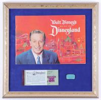Vintage Disneyland 16x16 Custom Framed Original 1962 Souvenir Guide Book Display with Vintage Ticket Booklet & Pin (See Description) at PristineAuction.com