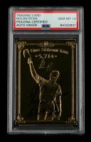 "Nolan Ryan Signed 1996 Bleachers 23 KT Gold Card Inscribed ""5,714 K's"" (PSA Encapsulated) at PristineAuction.com"