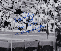 """Dick Fosbury Signed 16x20 Photo Inscribed """"68 Gold, """"Raise The Bar!"""" & """"US Olympic Hall of Fame 1992"""" (Schulte Sports Hologram) at PristineAuction.com"""