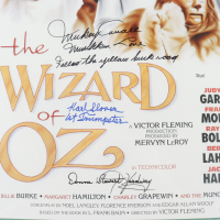 """Mickey Carroll, Donna Stewart-Hardaway & Karl Stover Signed """"The Wizard of Oz"""" 15.5x24 Movie Poster Inscribed """"Munchkin Love"""", """"Follow The Yellow Brick Road"""" & """"1st Trumpeter"""" (JSA COA) at PristineAuction.com"""