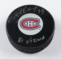 """Richard Sevigny Signed Canadiens Logo Hockey Puck Inscribed """"81 Vezina"""" (COJO COA) at PristineAuction.com"""