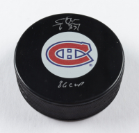 """Steve Penney Signed Canadiens Logo Hockey Puck Inscribed """"86 Cup"""" (COJO COA) at PristineAuction.com"""