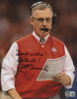 """Jim Tressel Signed Ohio State Buckeyes 8x10 Photo Inscribed """"Best Wishes!"""" & """"Go Bucks!"""" (Beckett COA) at PristineAuction.com"""