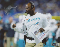 """Brian Flores Signed Dolphins 8x10 Photo Inscribed """"Go Phins!"""" (Beckett COA) at PristineAuction.com"""