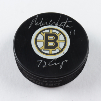 """Mike Walton Signed Bruins Logo Hockey Puck Inscribed """"72 Cup"""" (COJO COA) at PristineAuction.com"""