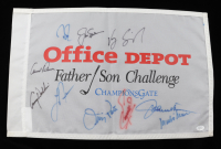 Office Depot Father / Son Challenge 14x21.5 Flag Signed by (10) with Arnold Palmer, Jack Nicklaus, Vijay Singh, Mark O'Meara, Fuzzy Zoeller (JSA LOA) (See Description) at PristineAuction.com