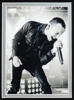 Linkin Park 20.5x26.5 Custom Framed Meet & Greet Pass Display Band-Signed by (6) With Chester Bennington, Rob Bourdon, Brad Delson, Mike Shinoda (JSA LOA) (See Description) at PristineAuction.com