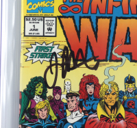 """Ron Lim & Jim Starlin Signed 1992 """"The Infinity War"""" Issue #1 Marvel Comic Book (CGC Encapsulated - Graded 9.8) at PristineAuction.com"""