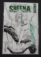 """J. Scott Campbell Signed 2017-18 """"Sheena Queen of The Jungle"""" Issue #1 Black & White Variant Dynamite Comic Book (Campbell Hologram) at PristineAuction.com"""