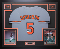 "Brooks Robinson Signed 35x43 Custom Framed Jersey Display Inscribed ""HOF 83"" (JSA COA) at PristineAuction.com"