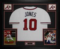 Chipper Jones Signed 35x43 Custom Framed Jersey Display (Beckett COA) at PristineAuction.com