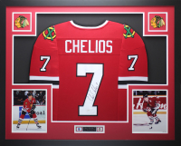 Chris Chelios Signed 35x43 Custom Framed Jersey Display (JSA COA) at PristineAuction.com