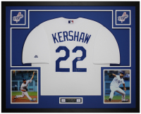 Clayton Kershaw Signed Dodgers 35x43 Custom Framed Jersey Display (PSA COA) at PristineAuction.com