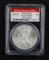2013-(S) American Silver Eagle $1 One Dollar Coin - First Strike, Struck at San Francisco, Eagle Label (PCGS MS70) at PristineAuction.com