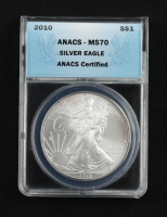 2010 American Silver Eagle $1 One Dollar Coin (ANACS MS70) (Toned) at PristineAuction.com