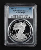 2019-W American Silver Eagle $1 One Dollar Coin (PCGS PR70 Deep Cameo) at PristineAuction.com