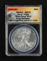 2014-(W) American Silver Eagle $1 One Dollar Coin - First Release, Struck at West Point (ANACS MS70) at PristineAuction.com