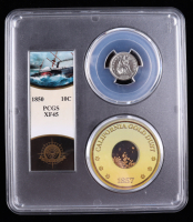 1850 Seated Liberty Silver Dime - S.S. Central America Shipwreck, with California Gold Dust - Bob Evans Signed Label (PCGS XF45) at PristineAuction.com