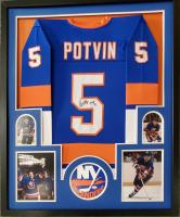 Denis Potvin Signed 34x42 Custom Framed Jersey (JSA COA) at PristineAuction.com