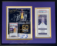Kobe Bryant Lakers 16x20 Custom Framed Display with 2017-18 Panini Chronicles Autographs Purple #27 & Final Game Unused Ticket (PSA 8) at PristineAuction.com