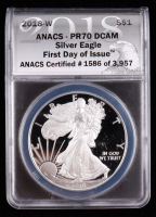 2018-W American Silver Eagle $1 One Dollar Coin - First Day of Issue, Black Eagle Label (ANACS PR70 Deep Cameo) at PristineAuction.com