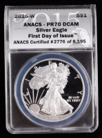2015-W American Silver Eagle $1 One Dollar Coin - First Day of Issue, Black Eagle Label (ANACS PR70 Deep Cameo) at PristineAuction.com