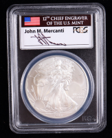 2013 American Silver Eagle $1 One Dollar Coin - First Strike, Mercanti Signed Flag Label (PCGS MS69) at PristineAuction.com