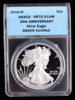 2016-W American Silver Eagle $1 One Dollar Coin - 30th Anniversary (ANACS PR70 Deep Cameo) at PristineAuction.com