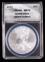 2014 American Silver Eagle $1 One Dollar Coin - Black Eagle Label (ANACS MS70) at PristineAuction.com